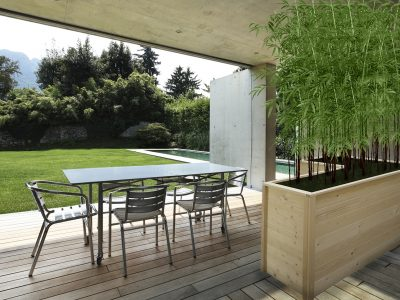 21018652 - veranda of a modern house with a beauty pool